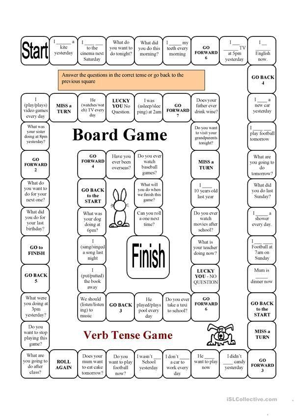 VERB Tense Game Verb Tenses, English Grammar Games, Teaching Verbs