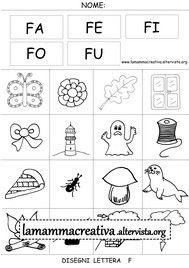 Disegni parole con lettera f
