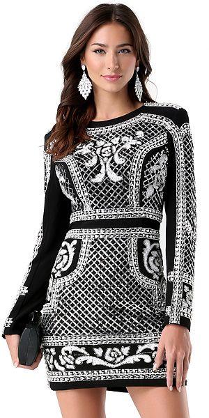 bebe Bead & Sequin Crepe Dress in black and white, $299 (Balmain x H&M inspired)