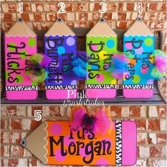 Bright Polka Dot Pencil Teacher Classroom Wooden Door Hanger with Zebra Print by PinkBrushstrokes $25
