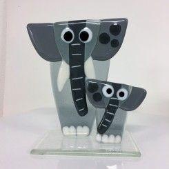 grå elefanter mor og barn