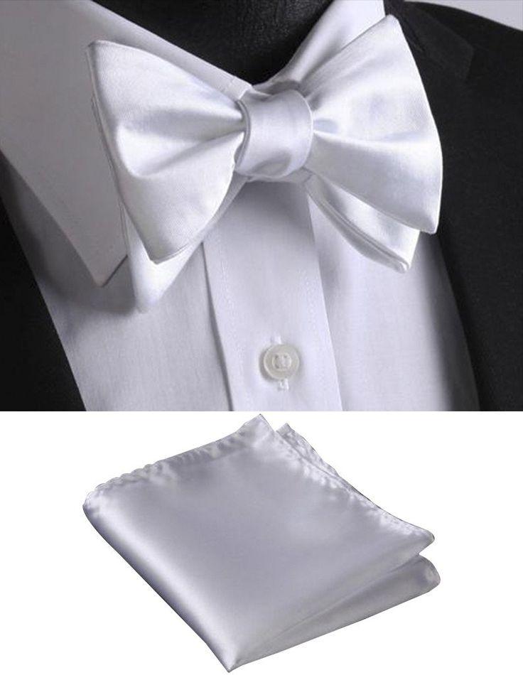 100% White Silk Self Tie Bow Tie   Pocket Square (Optional)