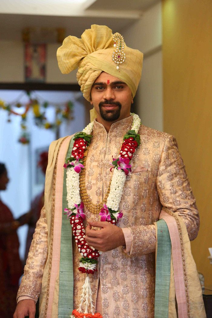 Groom Wear - The Dapper Groom! Photos, Hindu Culture, Beige Color, Groom Entry, Groom Sherwani pictures, images, vendor credits - The Lalit, Royal Caterers, Just Men Just Kidding, Pakhi Makeup Artist, Papa Dont Preach, Shantanu and Nikhil, WeddingPlz