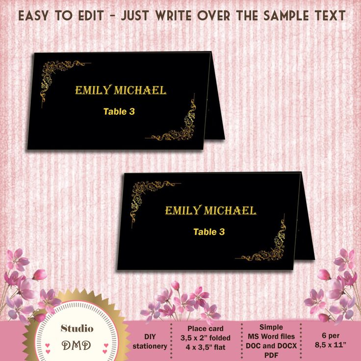 17 Best Ideas About Place Card Template On Pinterest | Place Card