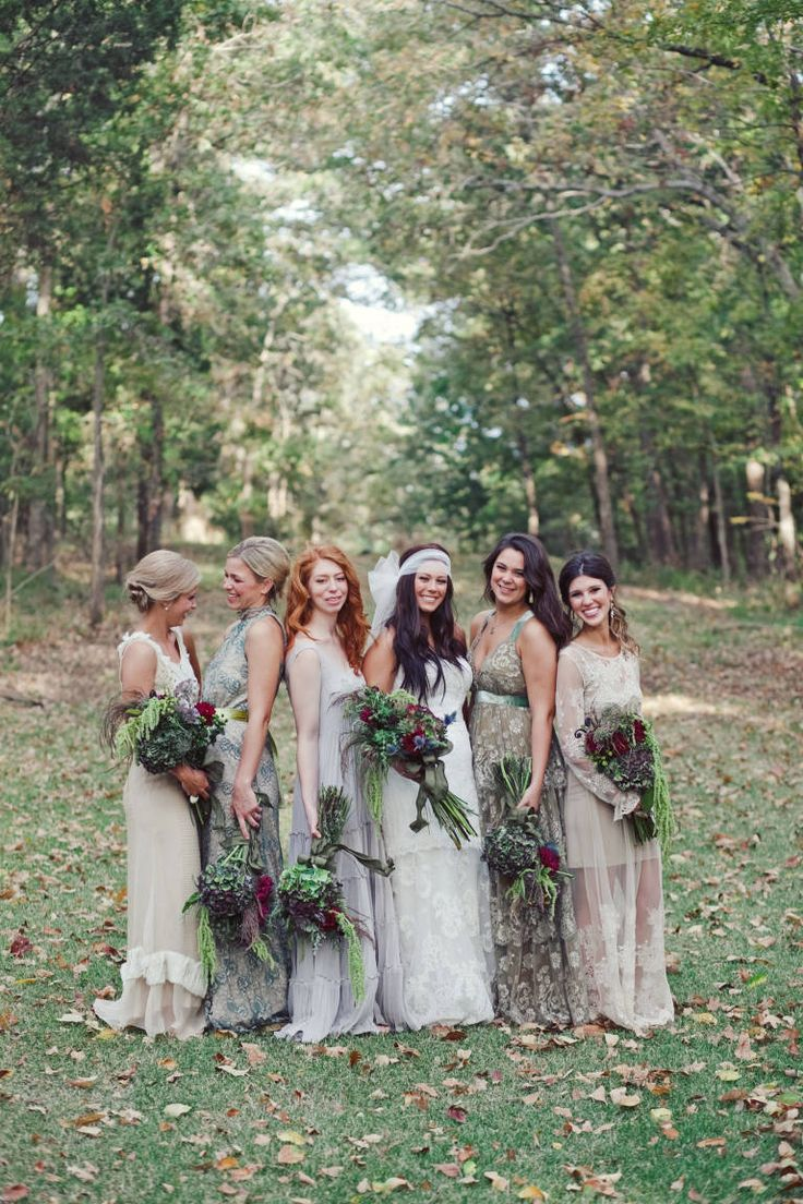 55 best trend mismatched maids images on pinterest clothes 18 adorable photos that prove the best bridesmaids dresses are mismatched bohemian weddingsboho ombrellifo Gallery