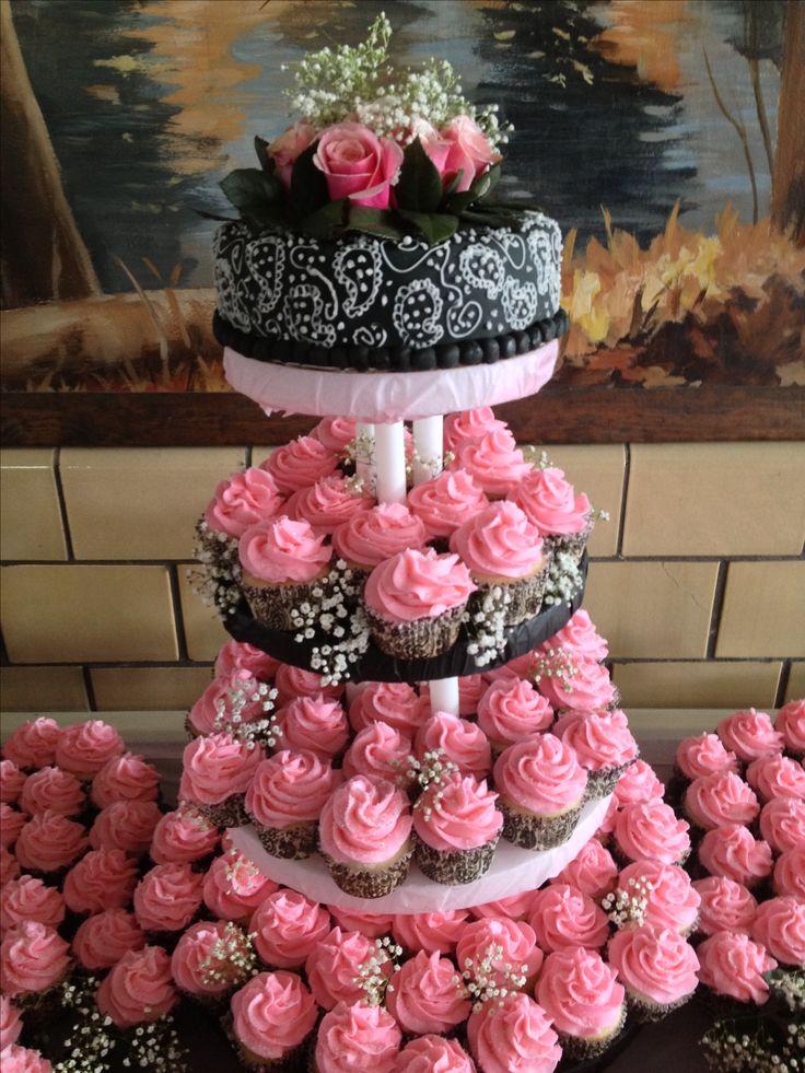 Black and pink wedding cake/cupcakes