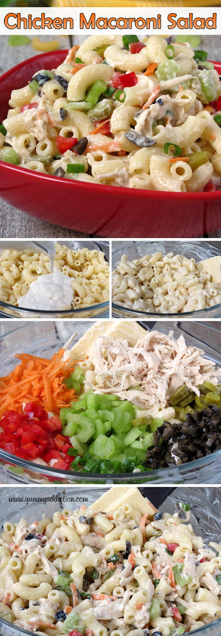 Chicken Macaroni Salad | http://YummyAddiction.com