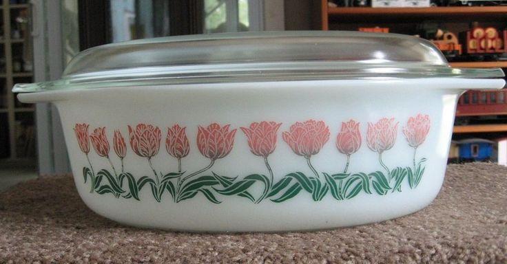 Rare Vintage Pyrex Oval Tulip Casserole 2 1/2 qt 045 34 very good pink green nm #Pyrex