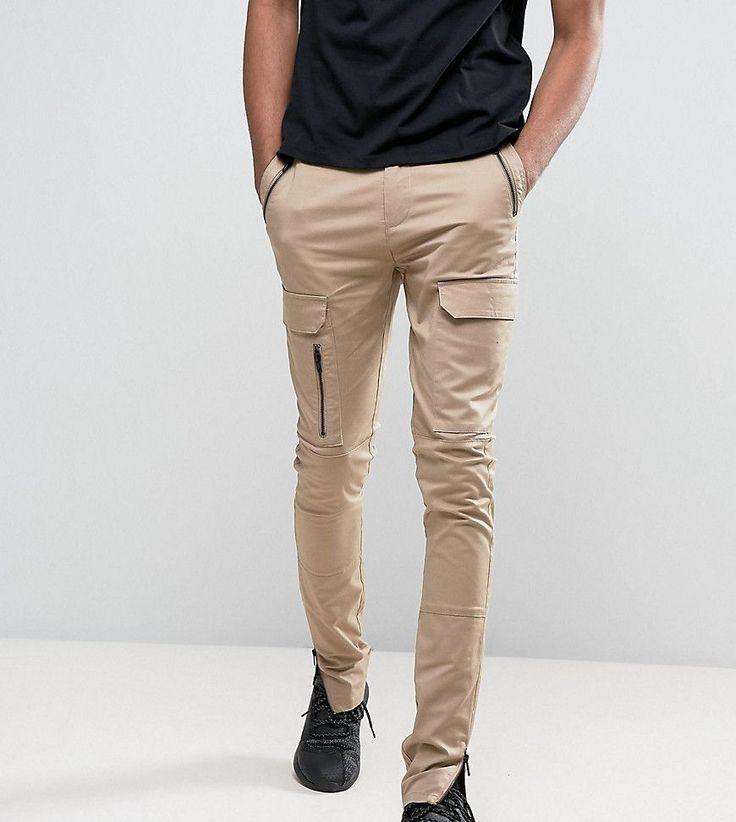 ASOS TALL Super Skinny Fit Pants with Zip Cargo Pockets in Stone - Sto