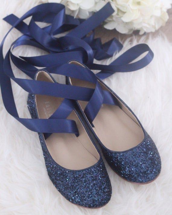 cbe04966cd41 NAVY BLUE ROCK Glitter flats with satin bow tie - Women Gold Wedding ...