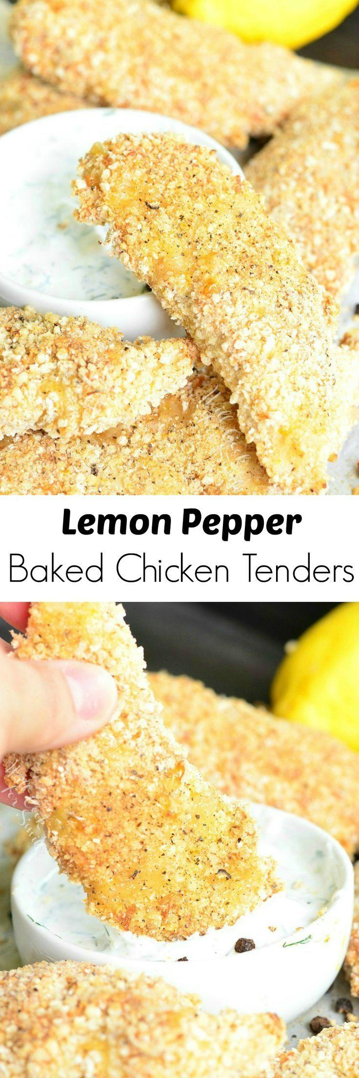 Lemon Pepper Baked Chicken Tenders. (A Gluten Free Recipe.) Juicy, crispy chicken tenders baked in the oven with gluten free bread crumbs and lemon pepper seasoning.