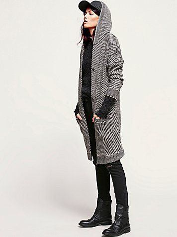 Right Angles Hooded Sweater Jacket -- Super cool outfit. Love the marled sweater jacket.
