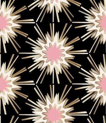 art deco pink gold cream ivory black grey fabric wallpaper powder room accent wall 2016 2017 new trend interior design must haves