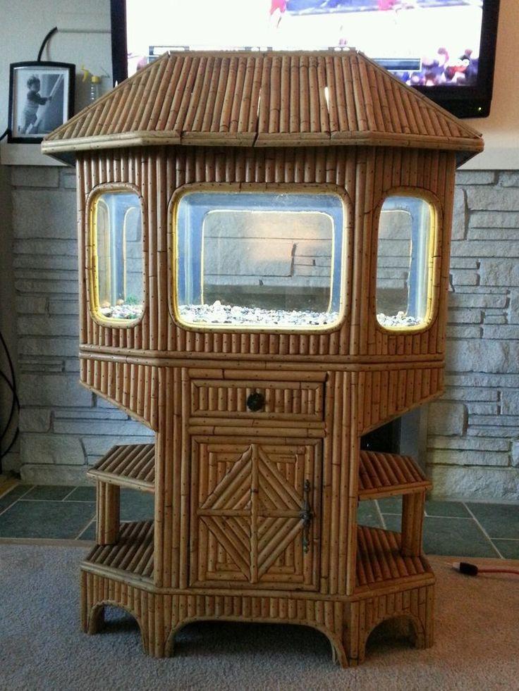 Rare Vintage Pagoda Fish Tank Handmade Bamboo Tiki 20