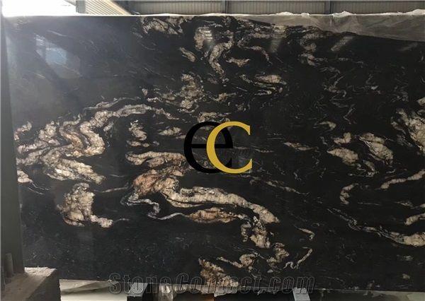 Brazil Titanium Cosmic Black Granite Slabs Tiles From Singapore
