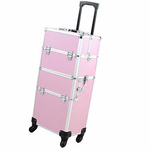 http://www.thebeautysource.info/14x9x29-2in1-pink-4-wheel-rolling-aluminum-makeup-artist-lockable-cosmetic-train-case-by-aw-review/ - Pink ABS Body 2 in 1 Professional 4-Wheel Rolling Makeup Train Case with Drawer Bar 4 Wheels Design Allows 360...