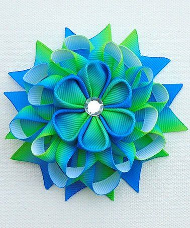 This Blue & Green Floral Hair Bow is perfect! #zulilyfinds