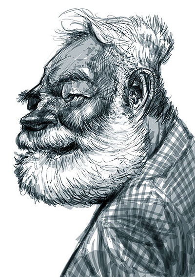 caricature of Ernest Hemingway - illustration of Jan Op De Beeck