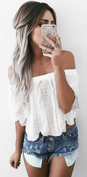 White Top + Denim Shorts                                                                             Source