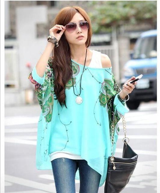 255eca497abbe Summer Tops Women New Fashion 2018 Vintage Bohemian Clothing Batwing Sleeve  Chiffon Blouse Shirt Plus Size 6XL For Big Women