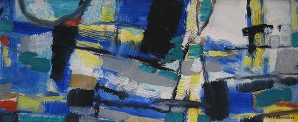 'Composition bleue et jaune' by Jean Chevolleau (1924 - 1996) Gouache on Paper: 11 x 29 cm Signed