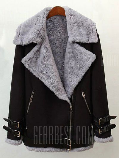 Just US$57.87 + free shipping, buy Black Faux Shearling Winter Jacket online shopping at GearBest.com.