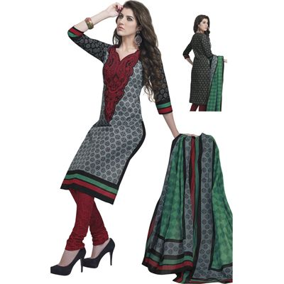 Buy Pari Grey Cotton Dress Material by Agate Business Services Private Limited, on Paytm, Price: Rs.699?utm_medium=pintrest