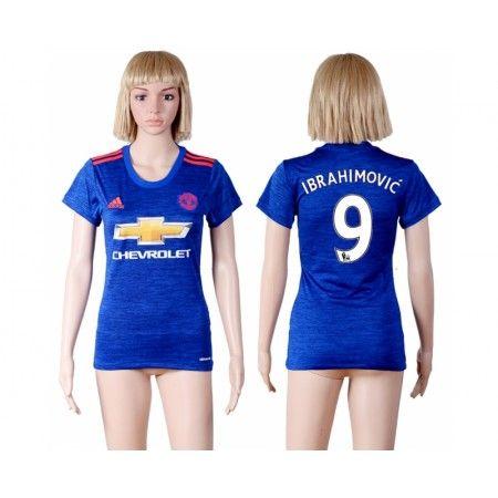 Manchester United Fotbollskläder Kvinnor 16-17 Zlatan #Ibrahimovic 9 Bortatröja Kortärmad,259,28KR,shirtshopservice@gmail.com