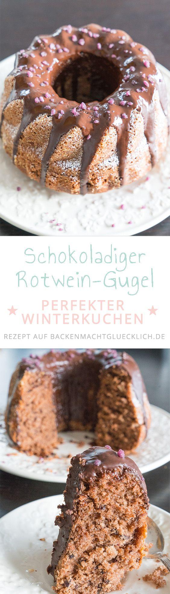 Ein wunderbar schokoladiger Gugelhupf mit Rotwein, Schokolade, Mandeln und Gewürzen: Dieser Rotweinkuchen schmeckt nicht nur in der Adventszeit!