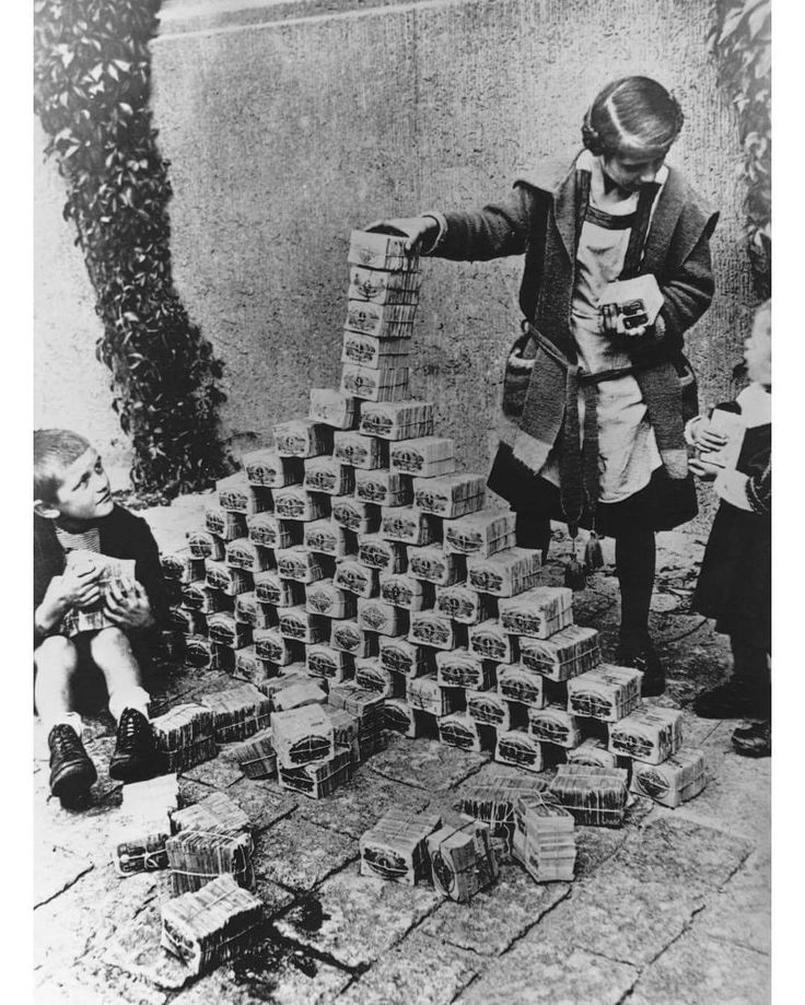 1923 Germany hyper inflation . Germany  missed a reparation payment and with strikes and a economy wrecked by war lead to hyperinflation. With little manufactured at the time there was more money chasing fewer goods. In Jan 1923 a loaf of bread cost 250 Mo and by Nov 1923 it risen to 200,000 mis.