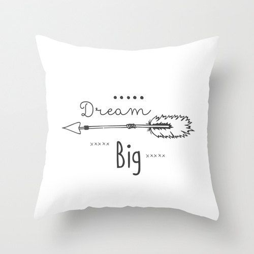 dream big decorative throw pillows black and by monochromestudio - White Decorative Pillows