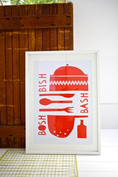 Bish Bash Bosh Screen Print by Mr and Mrs YOKE'S shop on The Bazaar. Buy creative products by Mr and Mrs YOKE'S shop online!