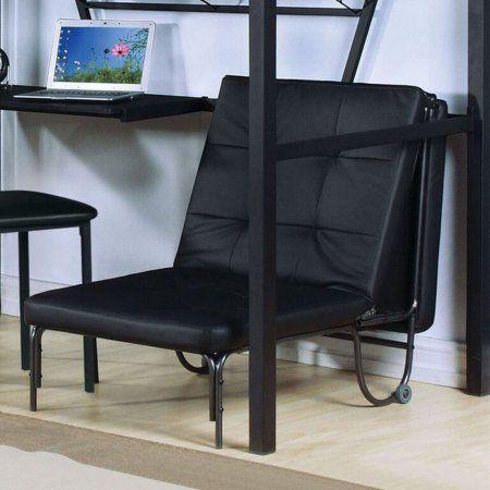 Acme Senon Adjustable Futon Chair, Silver and Black, Multicolor