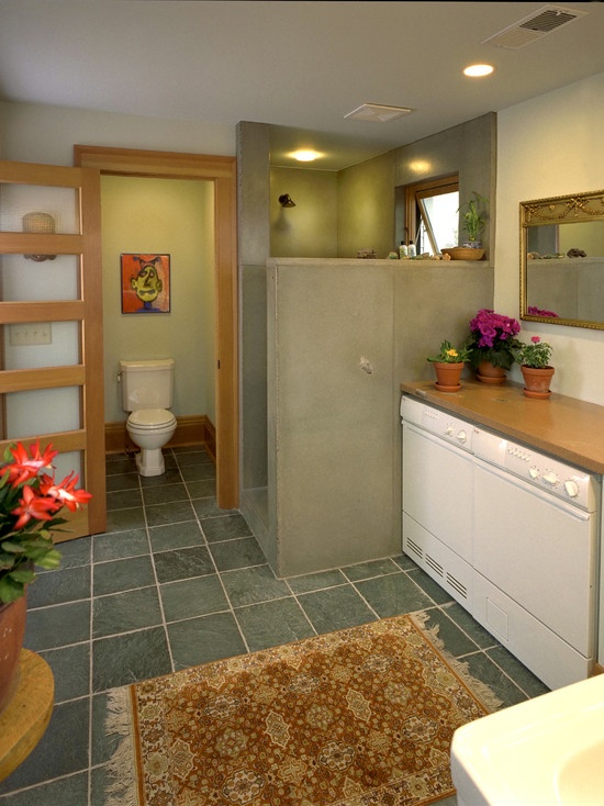 Bathroom Design With Washer And Dryer : Nice way to address washer dryer in the bathroom