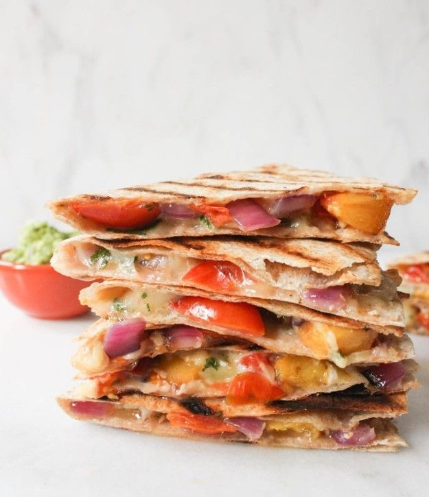 Grilled Peach and Cherry Tomato Quesadillas