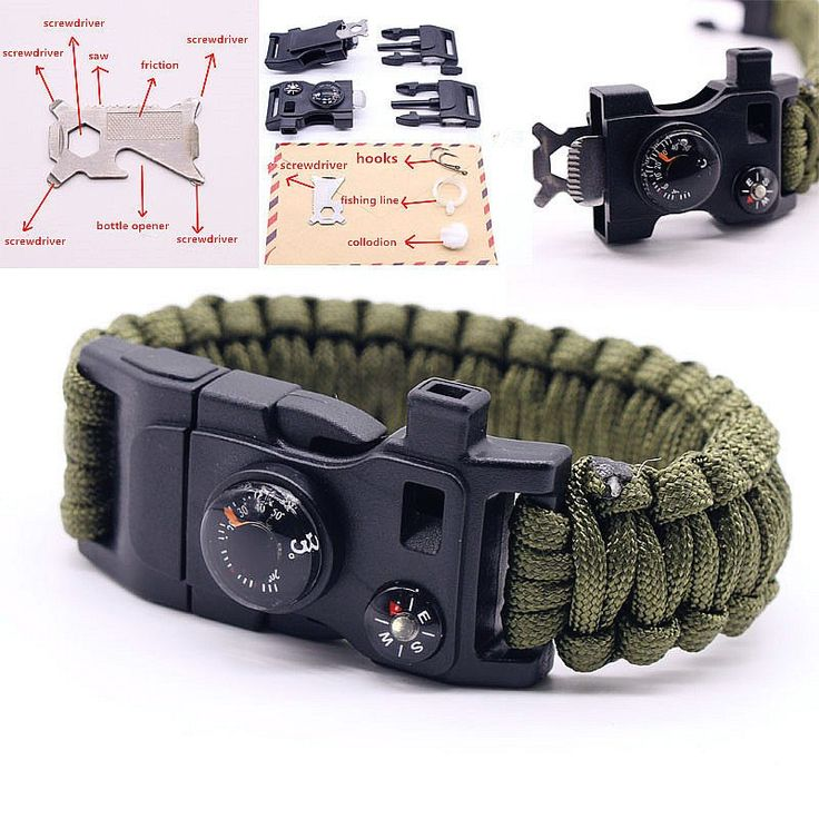 15 in 1 Multifuctional Outdoor Survival Bracelets For Men Parachute Rope Flint Whistle Compass Thermometer Travel Emergency Kits