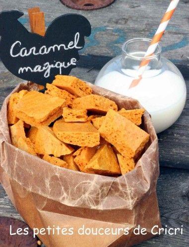 Caramel magique, recette en com     Laisser refroidir au moins 4 heures.     Ensuite il suffit de casser la plaque.     On peut utiliser ce caramel en éclat dans une brownie, sur une crème glacée ou juste comme ça !