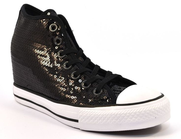 CONVERSE ALL STAR 556782C PAILLETTES NERO Zeppa Interna Donna Sneakers Bianca