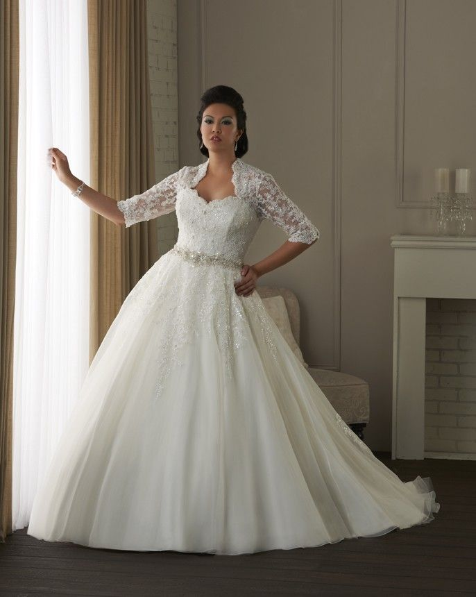 Alluring Organza Tulle Satin Queen Anne Neckline Natural Waistline Ball Gown Plus Size Wedding Dress