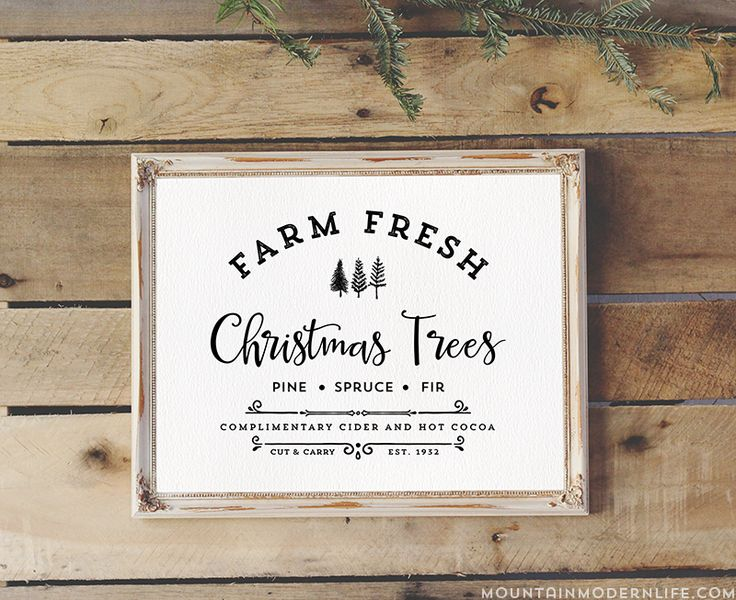 """Download and Print this vintage-inspired """"Farm Fresh Christmas Trees"""" design, perfect for sprucing up your home this holiday season. Multiple Color Options!"""