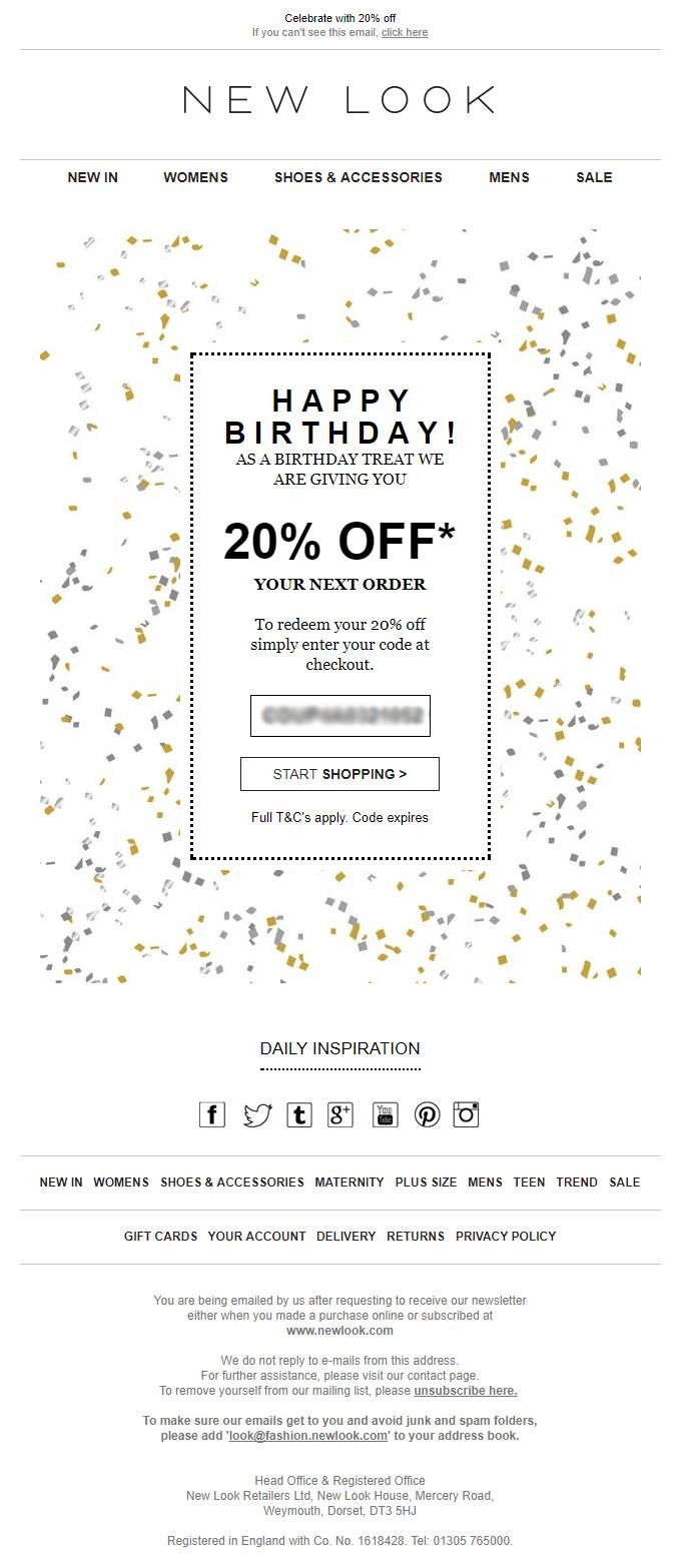 Birthday Email with discount coupon code from New Look #EmailMarketing #Email #Marketing #Coupon #Discount #Birthday #Offer