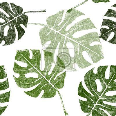 Sticker (adesivo murale) foglie tropicali senza soluzione di continuità