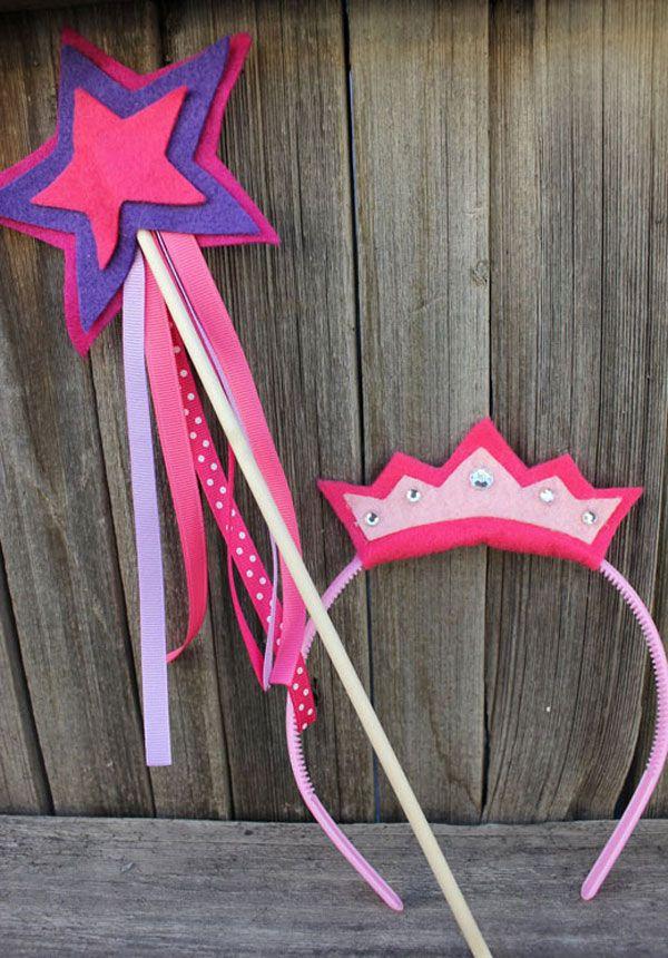 Varita magica y coronas princesas con fieltro