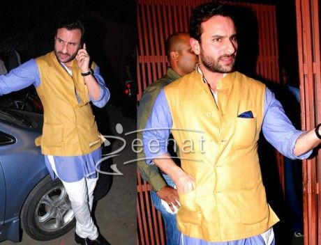 Saif Ali Khan in mustard colour Nehru Jacket with blue kurta and white Semi-Brijish .