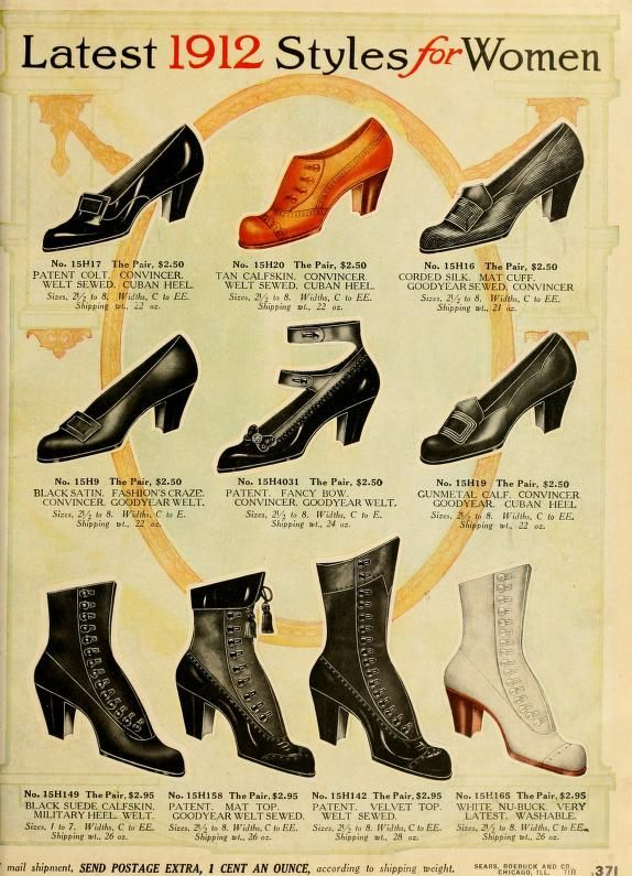 1912 women's shoes color illustration print ad vintage fashion style print ad 10s 20s 00s black white brown pump heel boot
