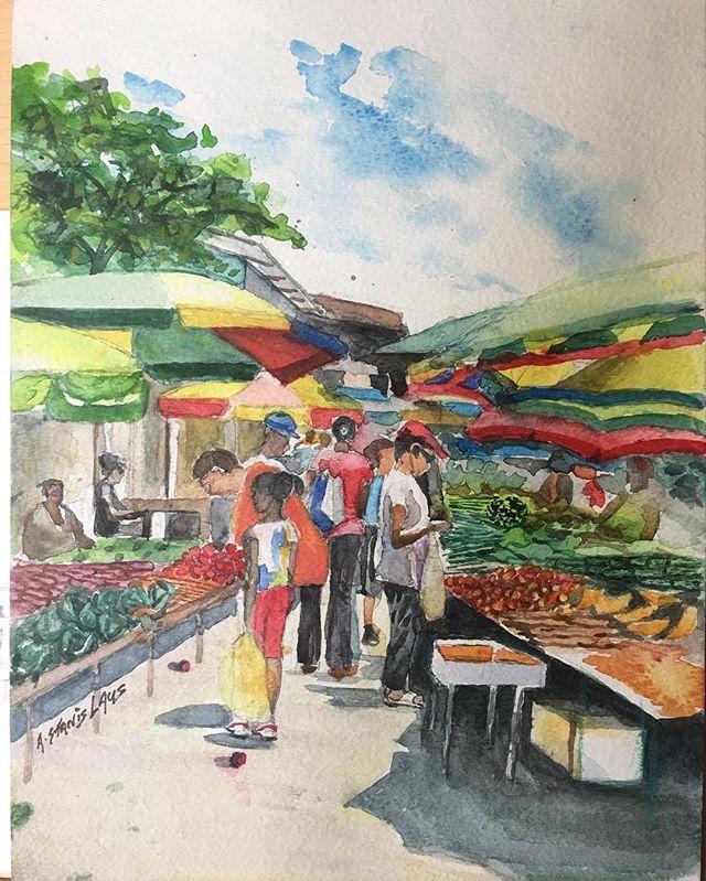 12x9 Watercolour Market Scene Watercolor Water Brilliance