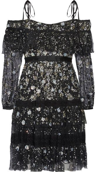 Needle & Thread - Supernova Off-the-shoulder Ruffled Embellished Tulle Mini Dress - Black
