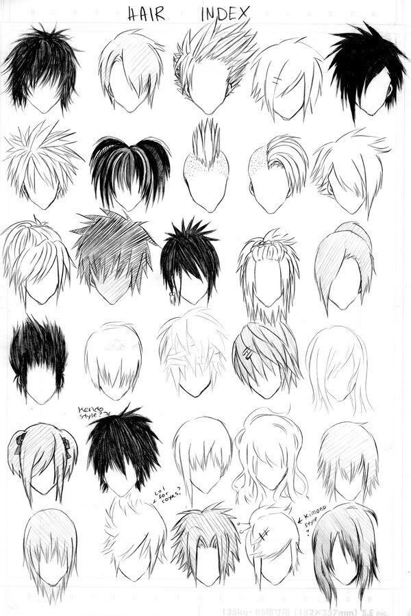 hair index. different ways to draw manga/anime hair.
