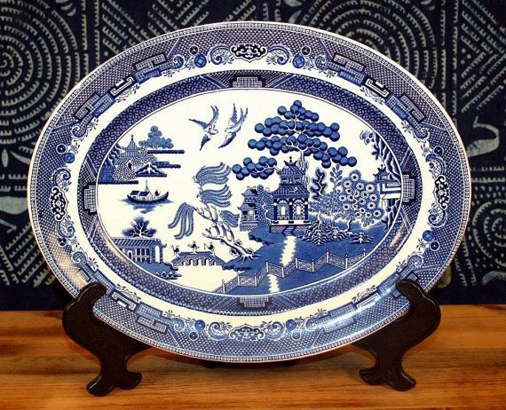 1970u0027s JOHNSON BROTHERS china Willow Blue blue/black Oval Meat Platter Serving PLATTER 12  & 45 best Our Blue Willow Collection images on Pinterest | Dishes ...