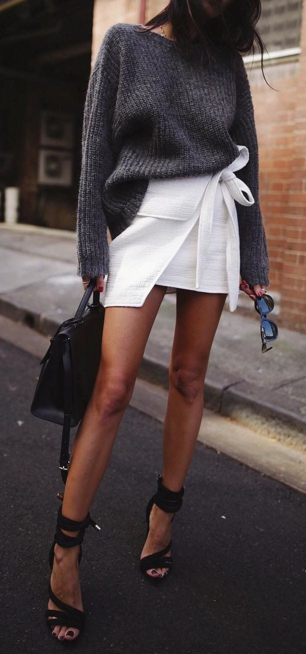 #fall #outfits gray sweater and white skirt